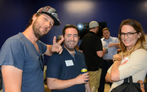 Pictured (LtoR) Patrick Rife, Startup Soiree co-founder; Andrew Schuster, NewsUp CEO; and Kara Redman, Backroom co-founder