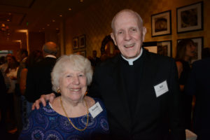 Pictured (LtoR) Aurelia Burt, Cristo Rey Jesuit High School founding board member; and Rev. William J. Watters, Cristo Rey Jesuit High School founder/event honoree