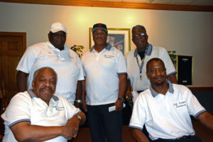 Pictured (LtoR) Old School Runners members: Ron Bailey; Tim Daughtry; James Johnson, Jr.; Jim Johnson, Sr., founder; and Bernie Pleasant