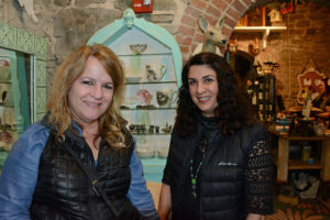 Pictured (LtoR) Catherine Lobo, School of the Cathedral Mary Our Queen nurse; and Mary DeMarco, La Contessa/La Terra Gift Gallery owner/designer, inside the gallery